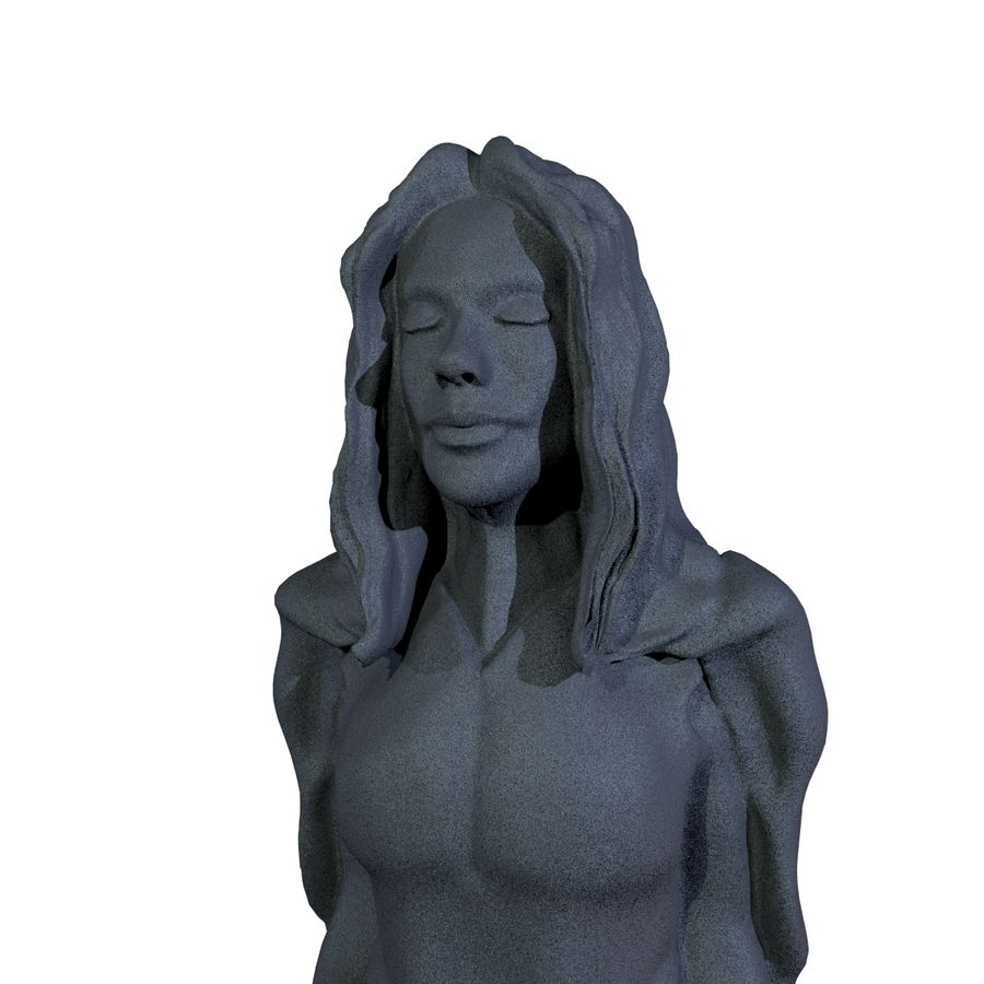 Estátua - monge fêmea royalty-free 3d model - Preview no. 4