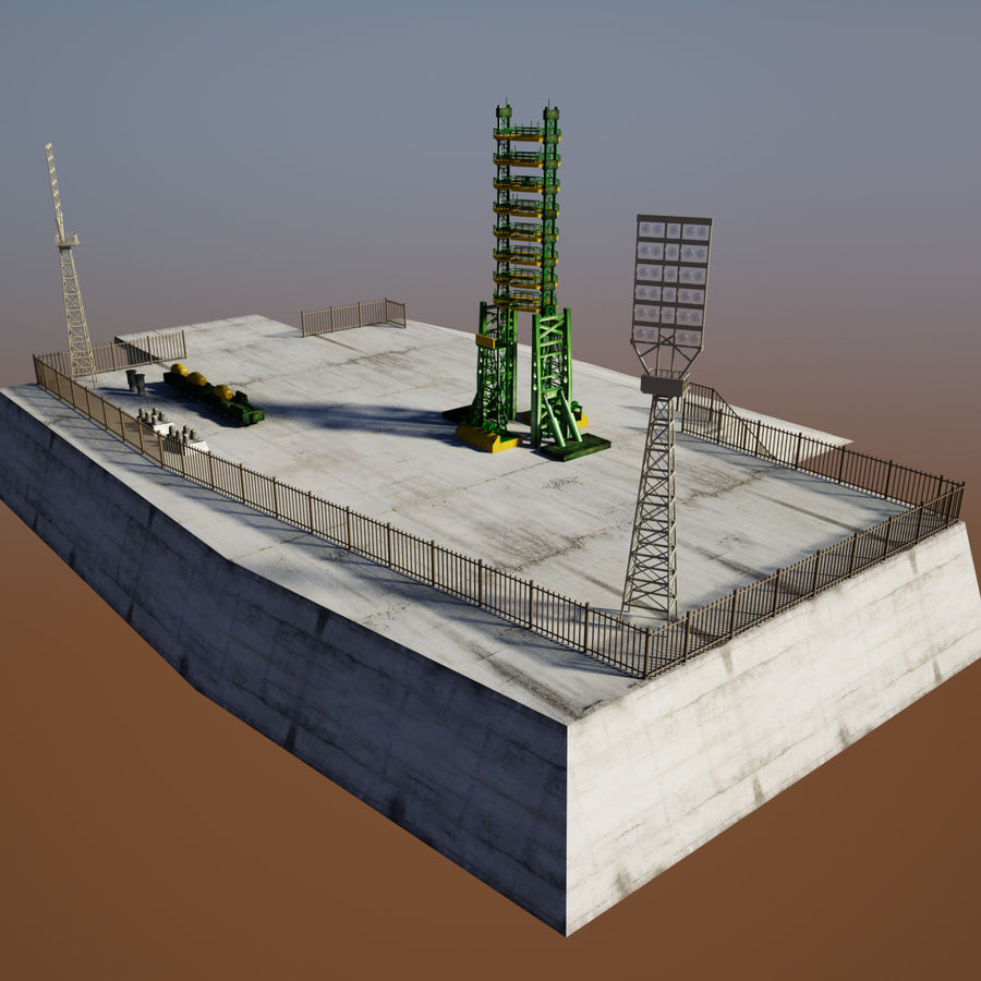 Rocket Launch Site royalty-free 3d model - Preview no. 7