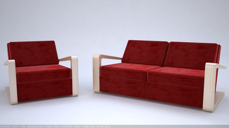 Sofa stoel royalty-free 3d model - Preview no. 3