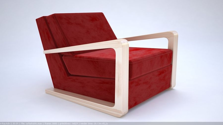 Sofa stoel royalty-free 3d model - Preview no. 1