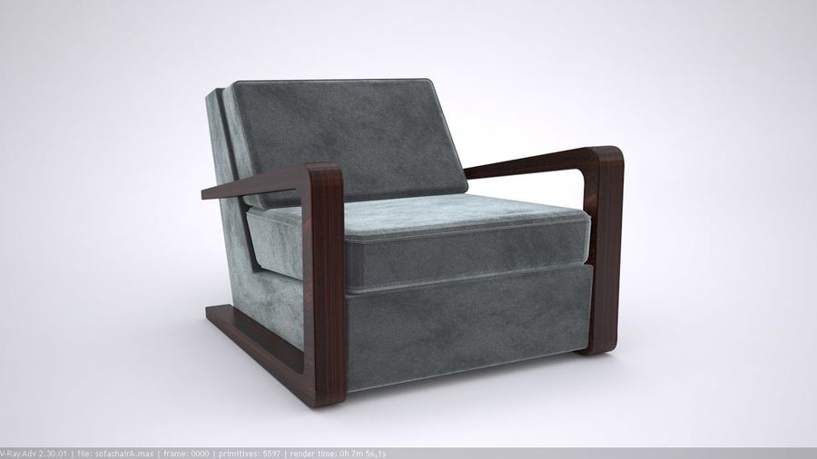 Sofa stoel royalty-free 3d model - Preview no. 4