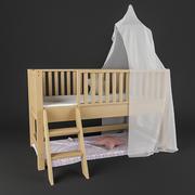 캐노피 침대 어린이 3d model