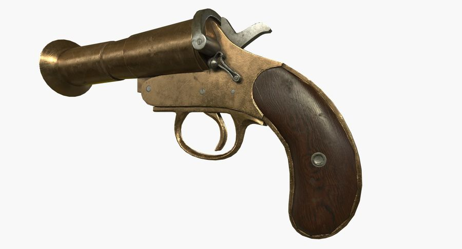 pistola lanciarazzi antica royalty-free 3d model - Preview no. 2