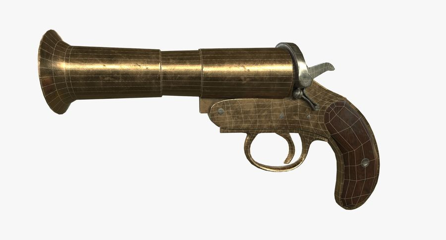 pistola lanciarazzi antica royalty-free 3d model - Preview no. 4