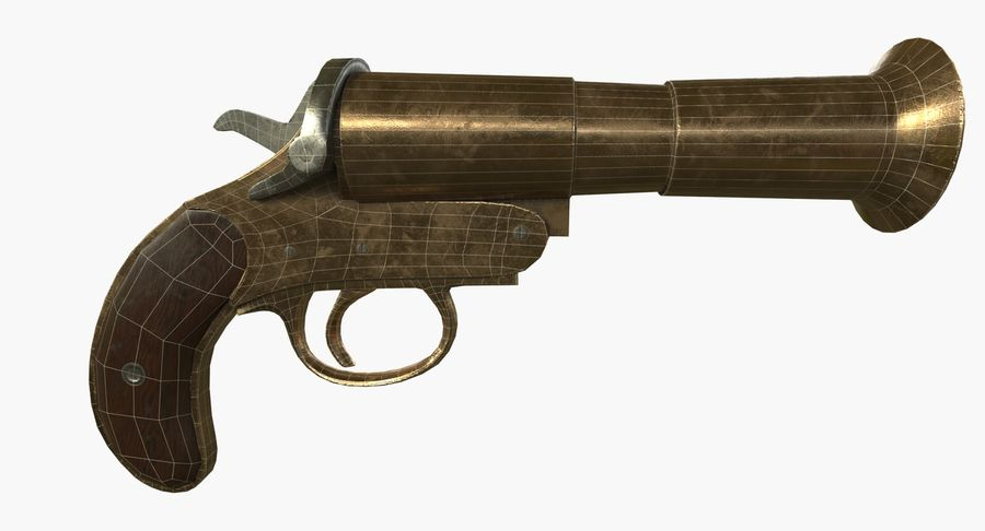 pistola lanciarazzi antica royalty-free 3d model - Preview no. 12