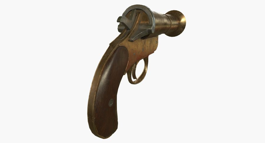 pistola lanciarazzi antica royalty-free 3d model - Preview no. 10