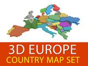 3D Europe Country Map Set 3d model
