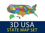 Mapa del estado de Estados Unidos 3D modelo 3d