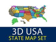 3D 미국 주지도 3d model