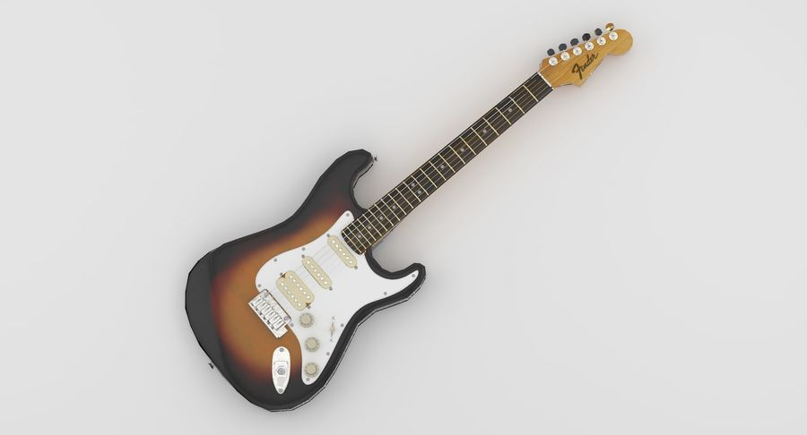 Lowpoly Fender Stratocaster Gitarre royalty-free 3d model - Preview no. 3