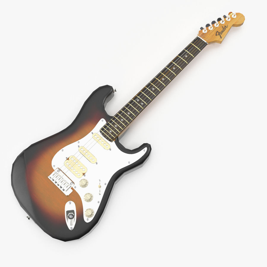 Lowpoly Fender Stratocaster Gitarre royalty-free 3d model - Preview no. 1