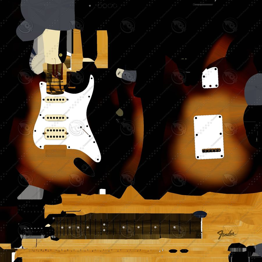 Lowpoly Fender Stratocaster Gitarre royalty-free 3d model - Preview no. 9