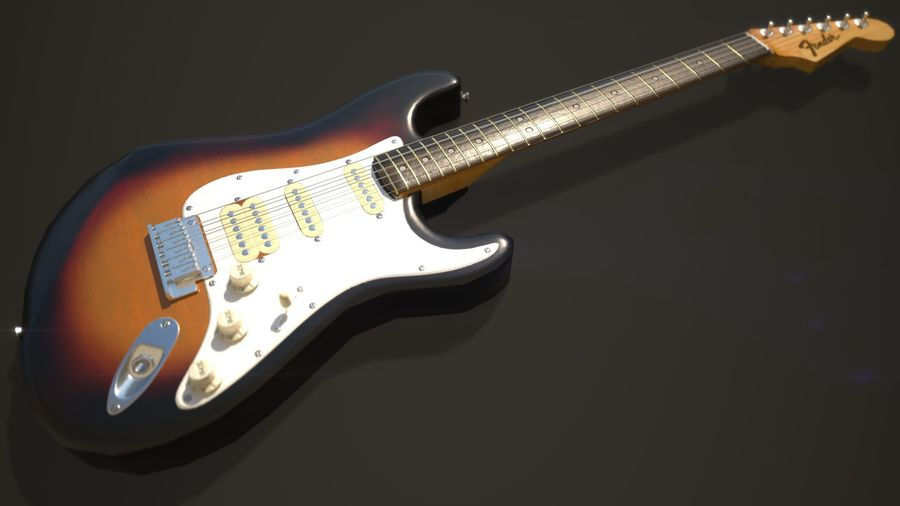 Lowpoly Fender Stratocaster Gitarre royalty-free 3d model - Preview no. 5