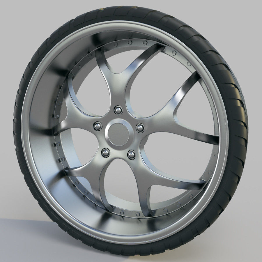 10の高詳細な車のホイール royalty-free 3d model - Preview no. 9