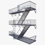 Fire Escape Stair 3d model