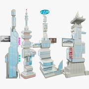 科幻小说摩天大楼套装V1 3d model