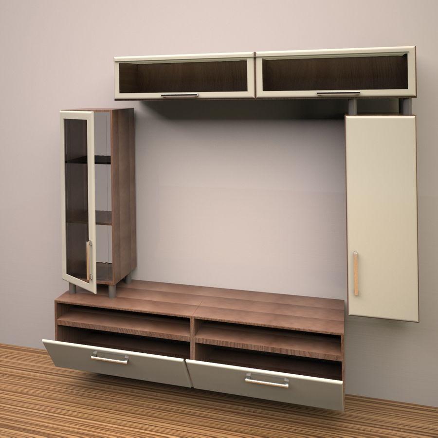 möbler för vardagsrum (vägg, rack) royalty-free 3d model - Preview no. 4
