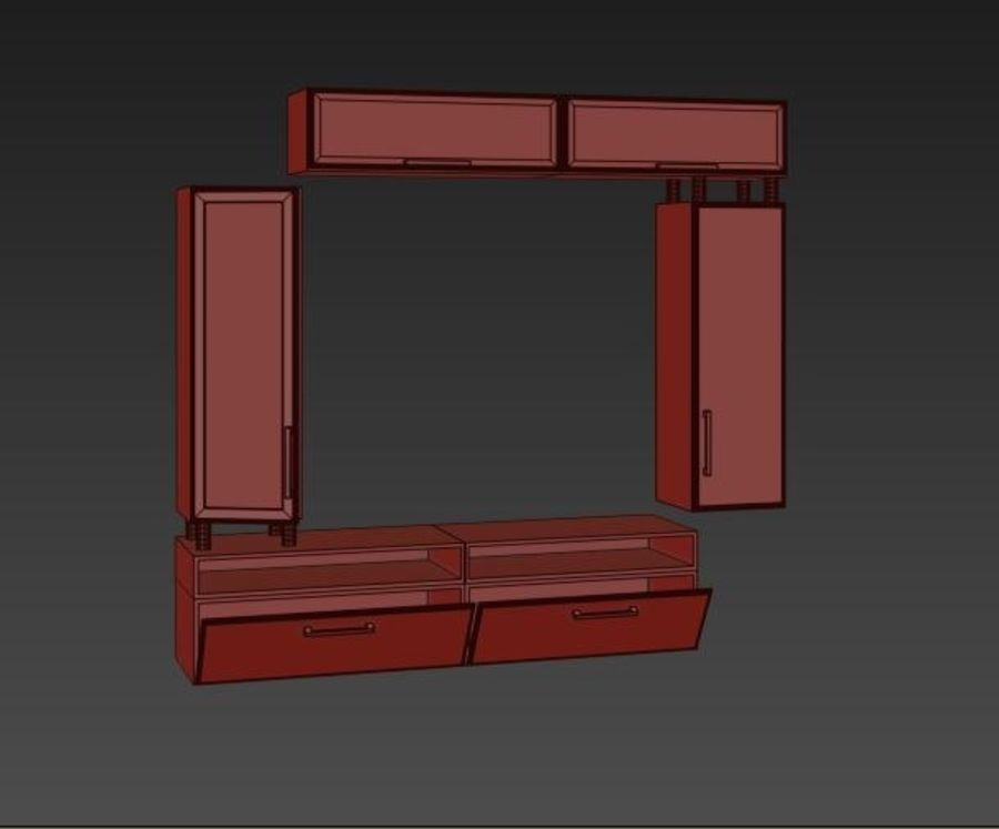 möbler för vardagsrum (vägg, rack) royalty-free 3d model - Preview no. 5