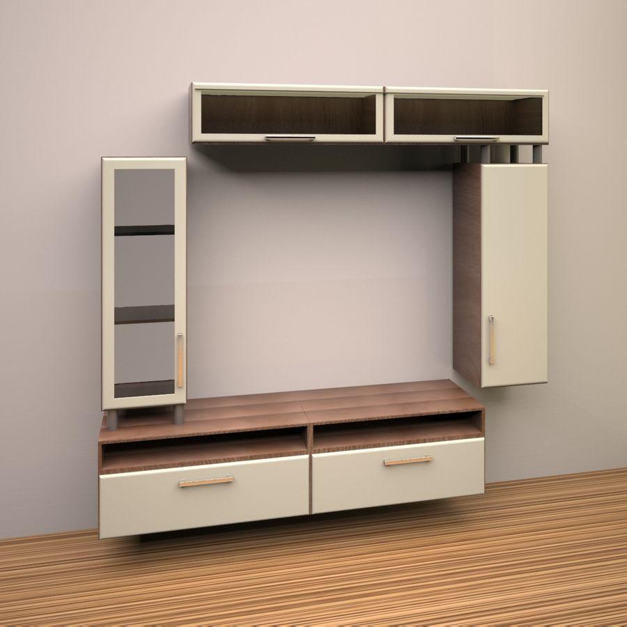 möbler för vardagsrum (vägg, rack) royalty-free 3d model - Preview no. 3