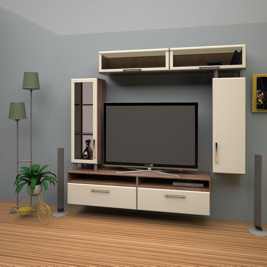 möbler för vardagsrum (vägg, rack) royalty-free 3d model - Preview no. 1