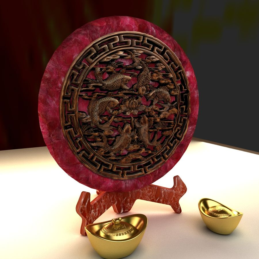 Chinese gold ingot royalty-free 3d model - Preview no. 5