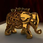Chinese elephant and gold ingot 3d model