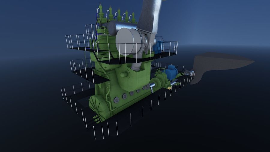 Marine diesel engines royalty-free 3d model - Preview no. 6