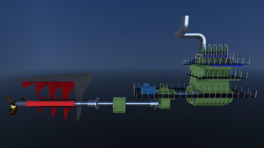 Marine diesel engines royalty-free 3d model - Preview no. 5