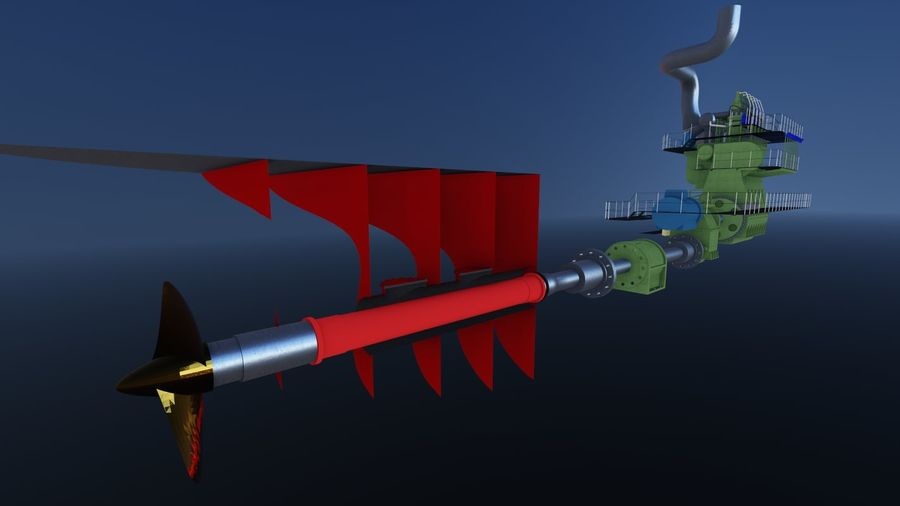Marine diesel engines royalty-free 3d model - Preview no. 3
