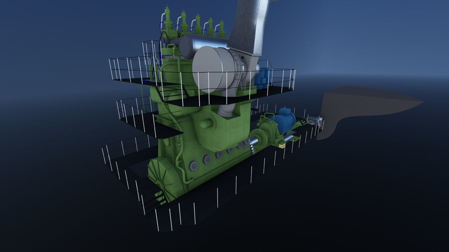 Motores diesel marítimos royalty-free 3d model - Preview no. 6