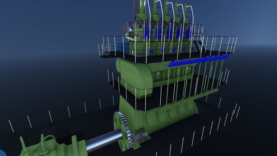 Marine diesel engines royalty-free 3d model - Preview no. 4