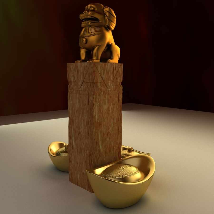 Chinese lion and gold ingot royalty-free 3d model - Preview no. 2