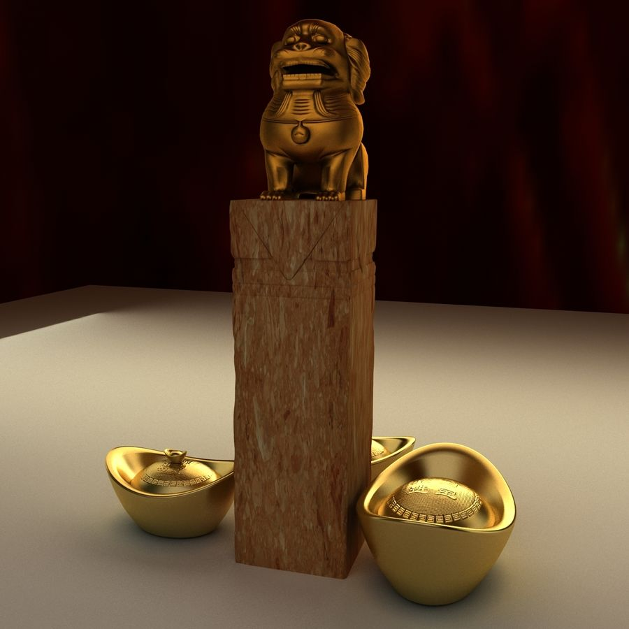 Chinese lion and gold ingot royalty-free 3d model - Preview no. 3