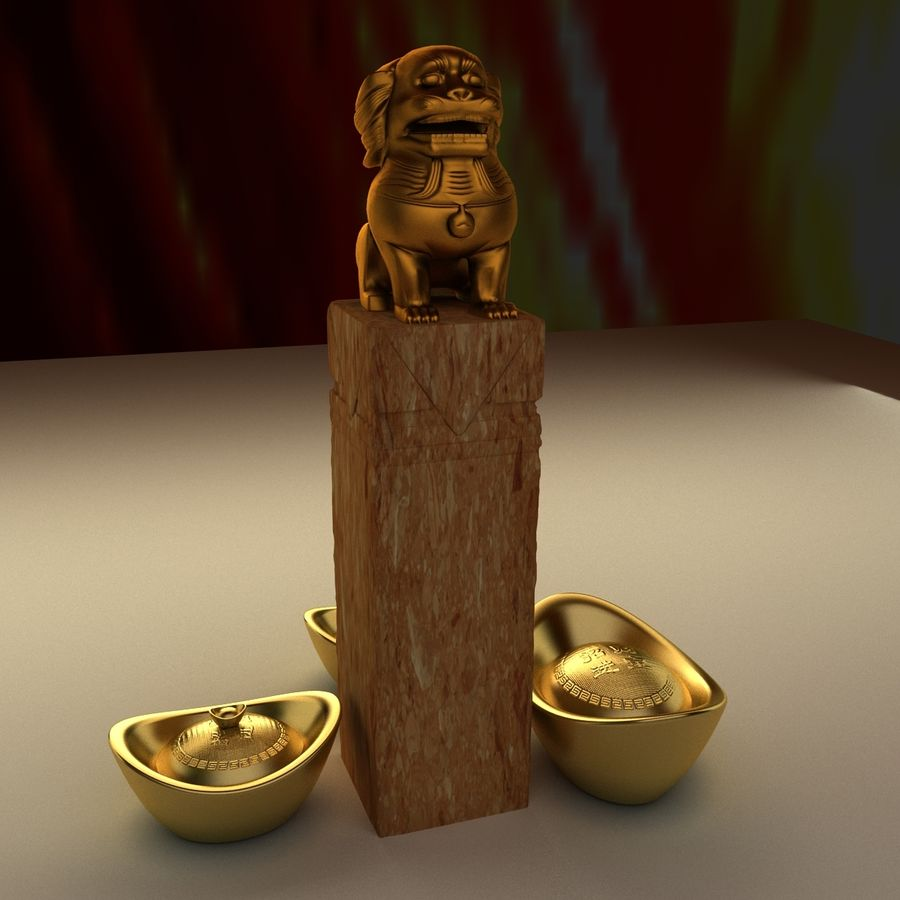 Chinese lion and gold ingot royalty-free 3d model - Preview no. 5