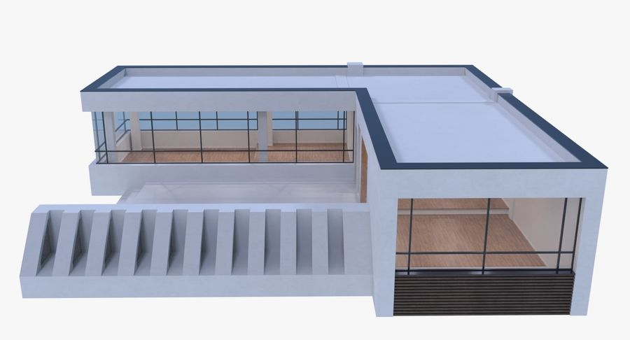 Resort building six royalty-free 3d model - Preview no. 2