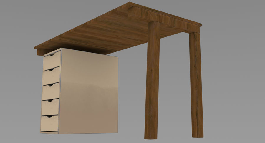 Desk with Office Cabinet royalty-free 3d model - Preview no. 9