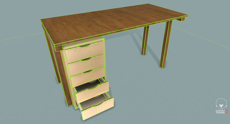 Desk with Office Cabinet royalty-free 3d model - Preview no. 21