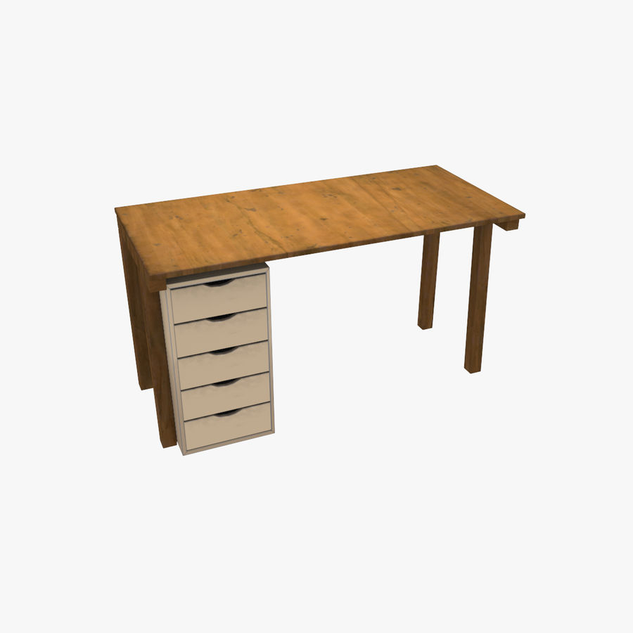 Desk with Office Cabinet royalty-free 3d model - Preview no. 1