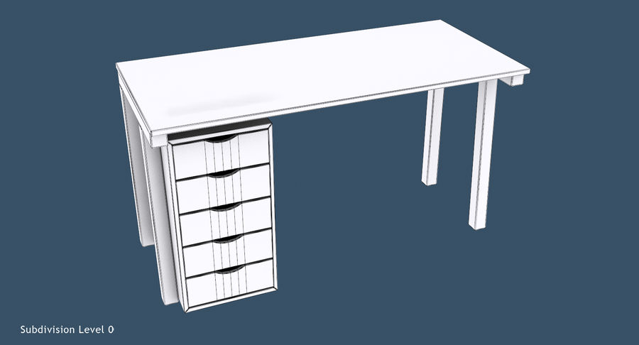 Desk with Office Cabinet royalty-free 3d model - Preview no. 10