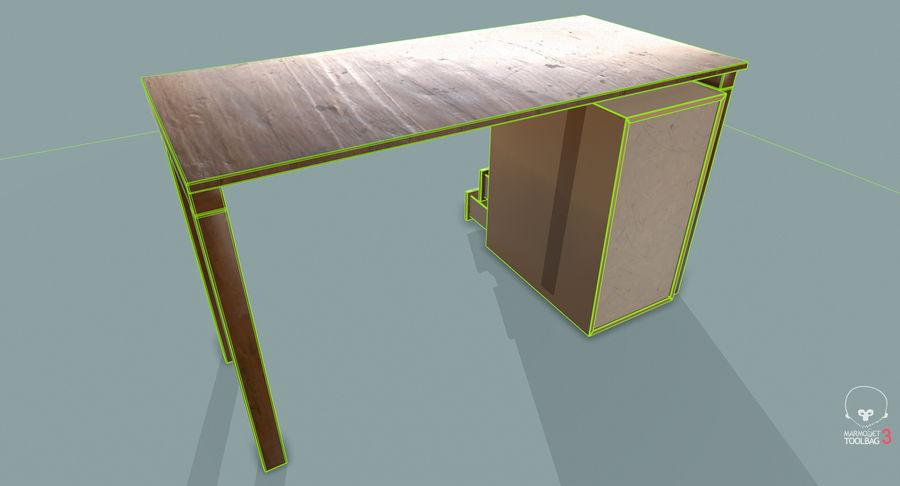 Desk with Office Cabinet royalty-free 3d model - Preview no. 22