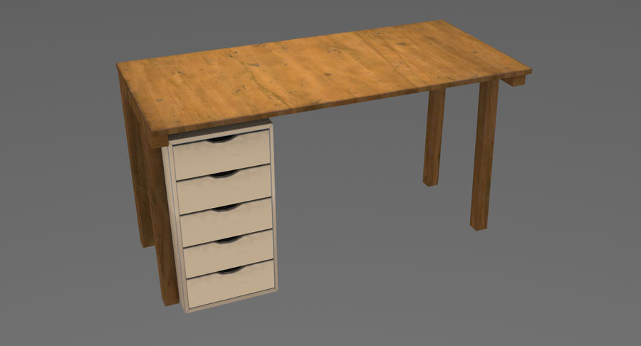 Desk with Office Cabinet royalty-free 3d model - Preview no. 3