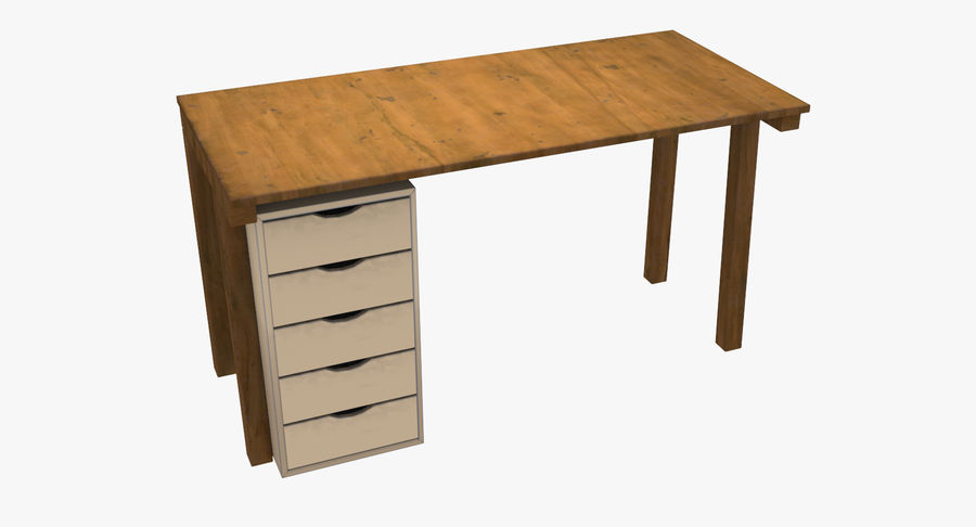 Desk with Office Cabinet royalty-free 3d model - Preview no. 2