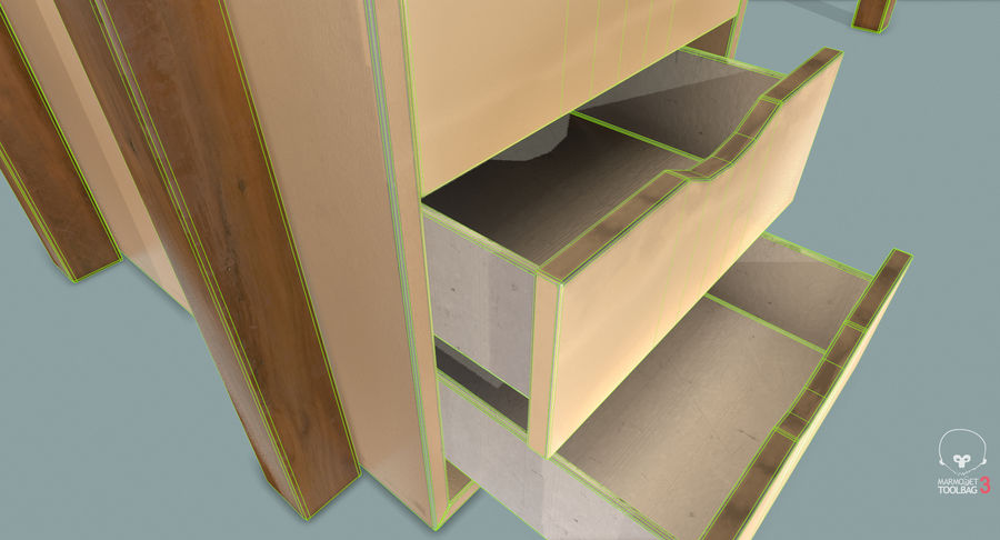 Desk with Office Cabinet royalty-free 3d model - Preview no. 23