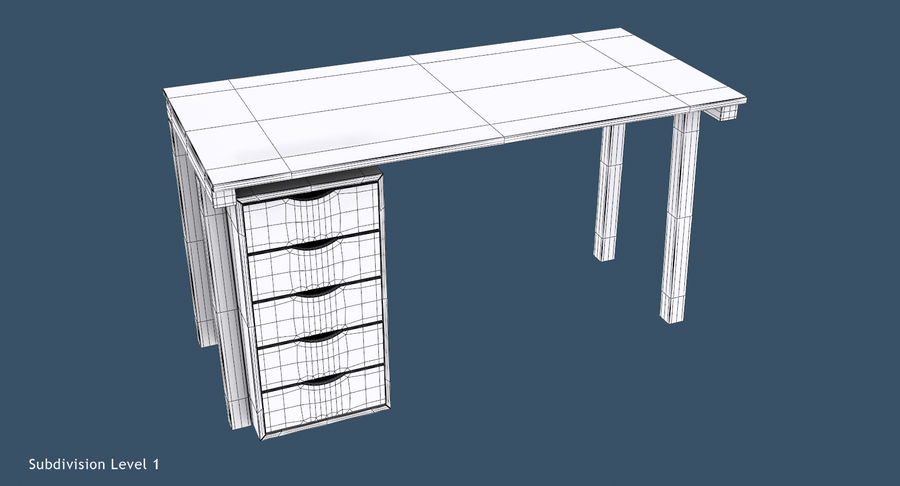 Desk with Office Cabinet royalty-free 3d model - Preview no. 11