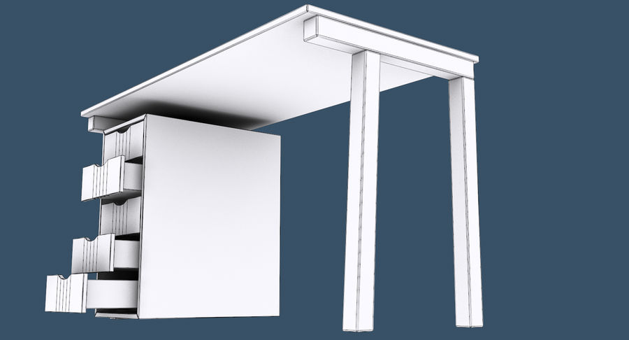 Desk with Office Cabinet royalty-free 3d model - Preview no. 16