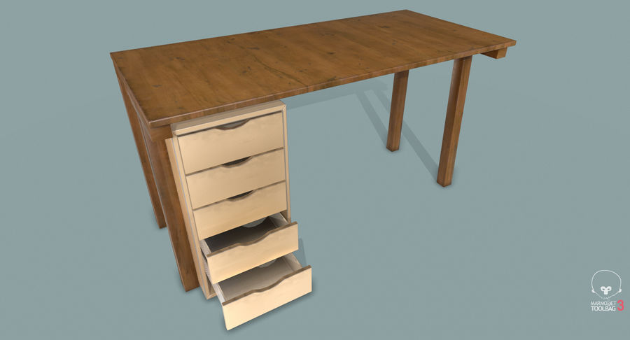 Desk with Office Cabinet royalty-free 3d model - Preview no. 17