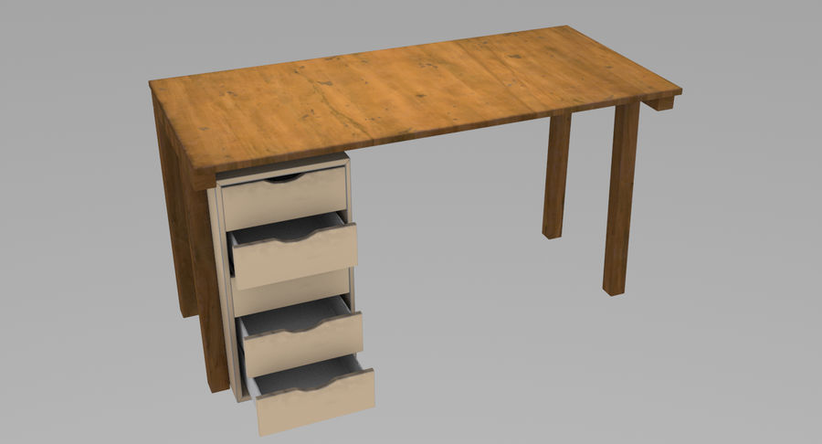 Desk with Office Cabinet royalty-free 3d model - Preview no. 4