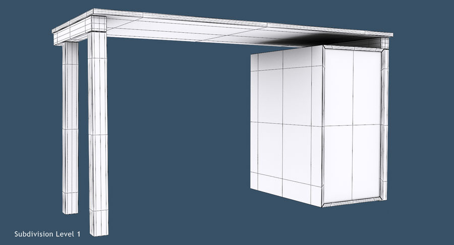 Desk with Office Cabinet royalty-free 3d model - Preview no. 13