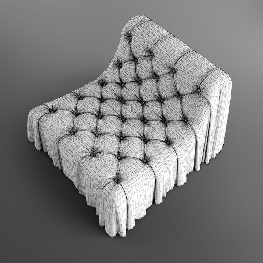 Boheemse fauteuil Busnelli royalty-free 3d model - Preview no. 12