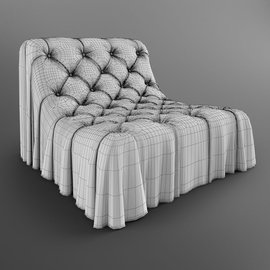 Boheemse fauteuil Busnelli royalty-free 3d model - Preview no. 8